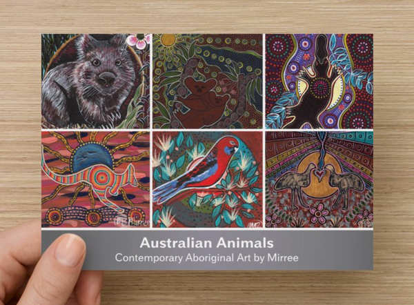 Australian Animal Dreaming Contemporary Aboriginal Art A6 PostCard Single by Mirree