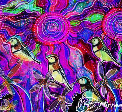Ancestral Owl Finches Square Painting Girlcee Print by Mirree Contemporary Aboriginal Art