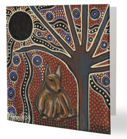 Original Luxury DESERT DAYDREAM DINGO Aboriginal Art Animal Dreaming Greeting Card Single by Mirree