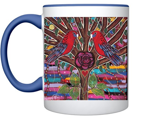 Dreamtime Crimson Rosella Lovers with Rose MUG