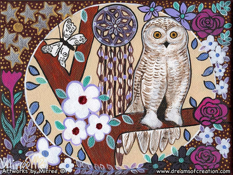Snowy Owl Dreaming with flower medicine Contempoary Aboriginal Art Original Painting by Mirree