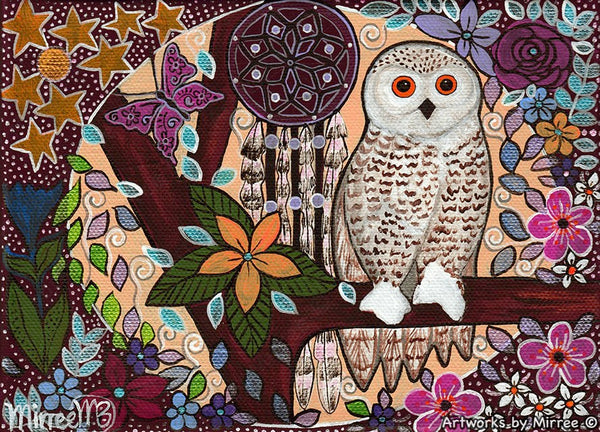 'Snowy Owl Dreaming with Butterfly & flower medicine with Dreamcatcher' A3 Girlcee Print by Mirree Contemporary Aboriginal Art