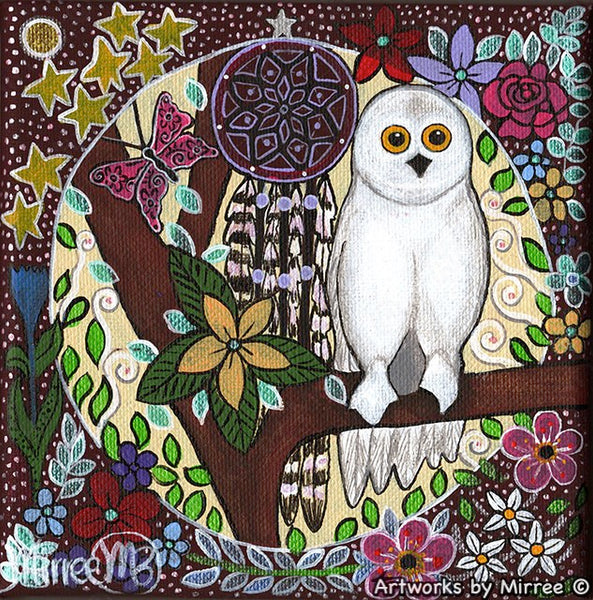 Snowy Owl Dreaming Small Contemporary Aboriginal Art Original Painting by Mirree