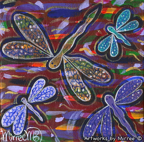 Small #2 Dragonfly Dreaming Contemporary Aboriginal Art Original Painting by Mirree