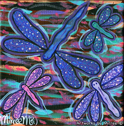 Small #1 Dragonfly Dreaming Contemporary Aboriginal Art Original Painting by Mirree