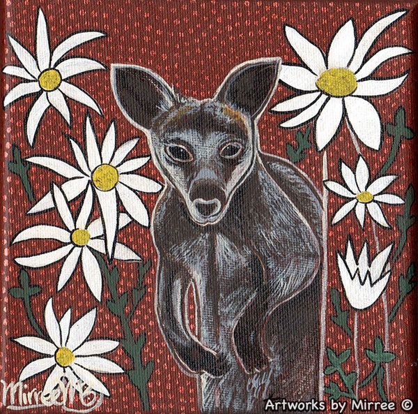 SWAMP WALLABY WITH FLANNEL FLOWER Dreaming Small Contemporary Aboriginal Art Original Painting by Mirree
