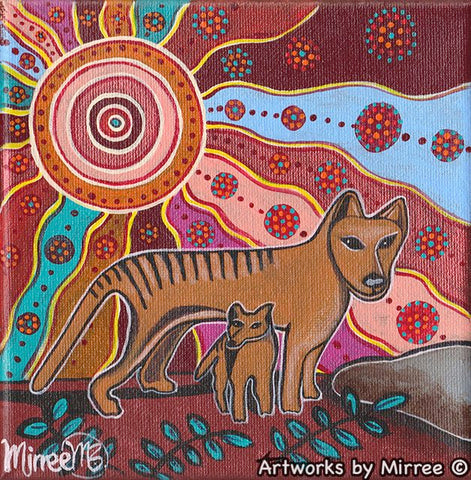 'Day Time Tasmanian Tiger' Small Original Painting by Mirree Contemporary Dreamtime Animal Dreaming