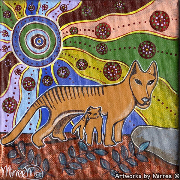 'Day Time Tasmanian Tiger' Blue Small Original Painting by Mirree Contemporary Dreamtime Animal Dreaming