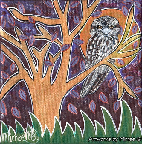 'Tawny Frogmouth in Tree' Sensitivity Original Painting Series by Mirree Contemporary Dreamtime Animal Dreaming
