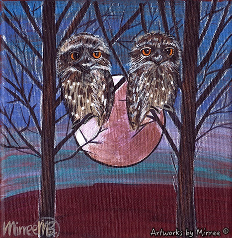 'Tawny Frogmouth in Tree' Original Painting Series by Mirree Contemporary Dreamtime Animal Dreaming
