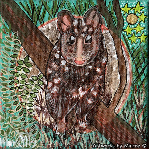 Spotted Tiger Quoll Dreaming Small Contemporary Aboriginal Art Original Painting by Mirree