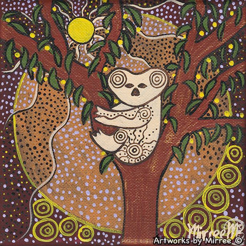 Time Out Koala Dreaming Framed Canvas Print by Mirree Contemporary Aboriginal Art