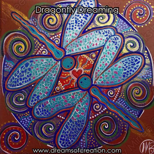 Dragonfly Dreaming Contemporary Aboriginal Art Original Painting by Mirree