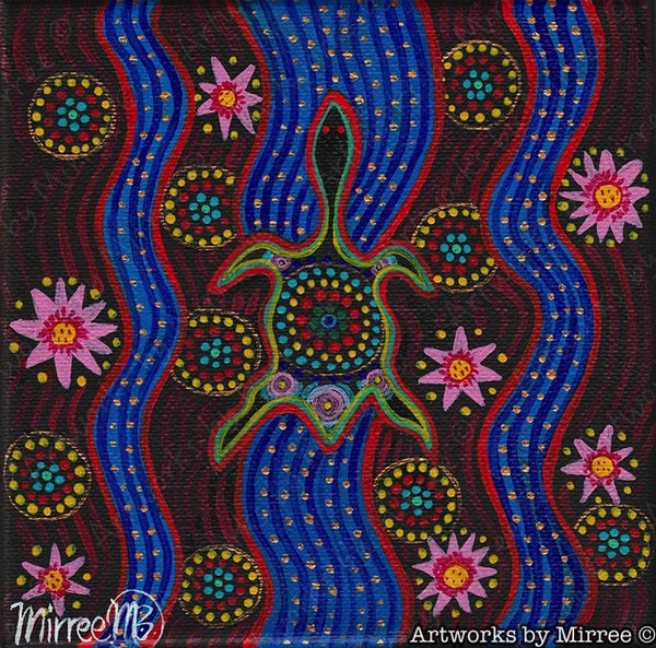 'Snake-Head Turtle with Lotus' Original Painting by Mirree Contemporary Dreamtime Animal Dreaming