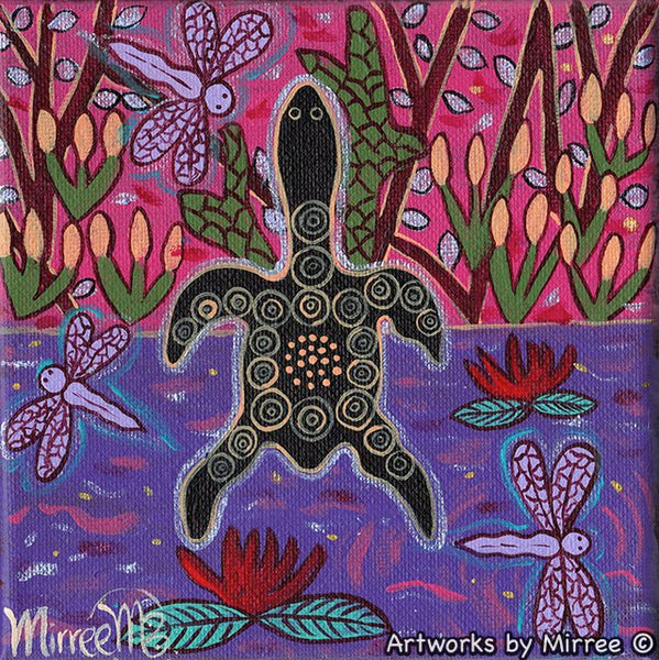 'Turtle Swamp with Dragonfly' Original Painting by Mirree Contemporary Dreamtime Animal Dreaming