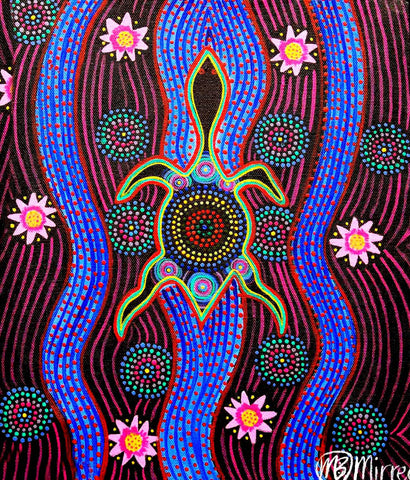 Snake Head Turtle with Lotus ORIGINAL PAINTING by Mirree Contemporary Aboriginal Art