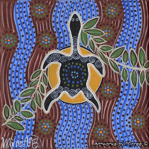 'Snake-Head Turtle with Leaves' Original Painting by Mirree Contemporary Dreamtime Animal Dreaming