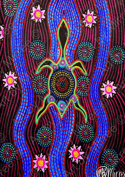 Dreamtime Snake-Head Turtle with lotus Emotions Contemporary Aboriginal Art Print by Mirree