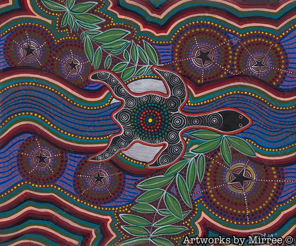 Turtle Dreaming by moonlight with leaves Painting Giclee Print Contemporary Aboriginal Art Print by Mirree