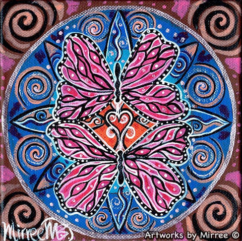 'BUTTERFLY HEARTS' Original Painting by Mirree Contemporary Dreamtime Animal Dreaming