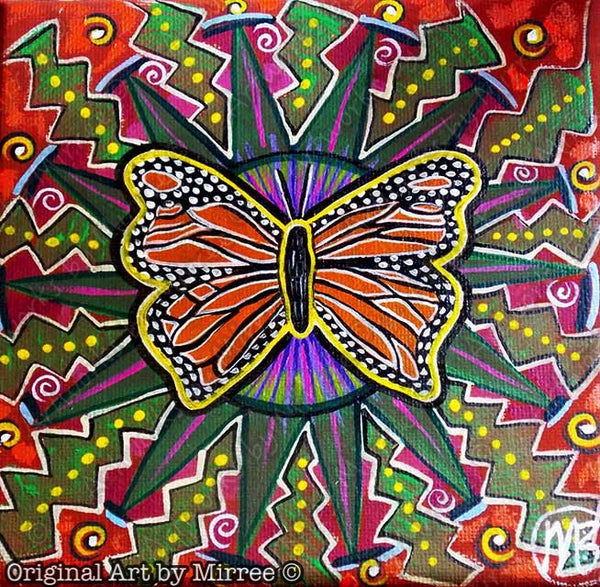 'Wanderer Butterfly' Original Painting by Mirree Contemporary Dreamtime Animal Dreaming