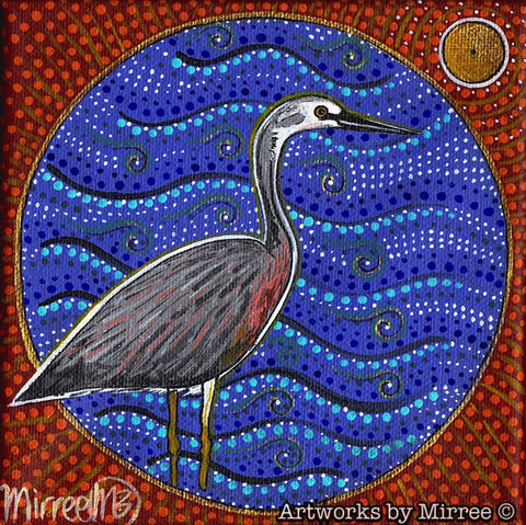 'Australian White-Faced Heron' Original Painting by Mirree Contemporary Dreamtime Animal Dreaming