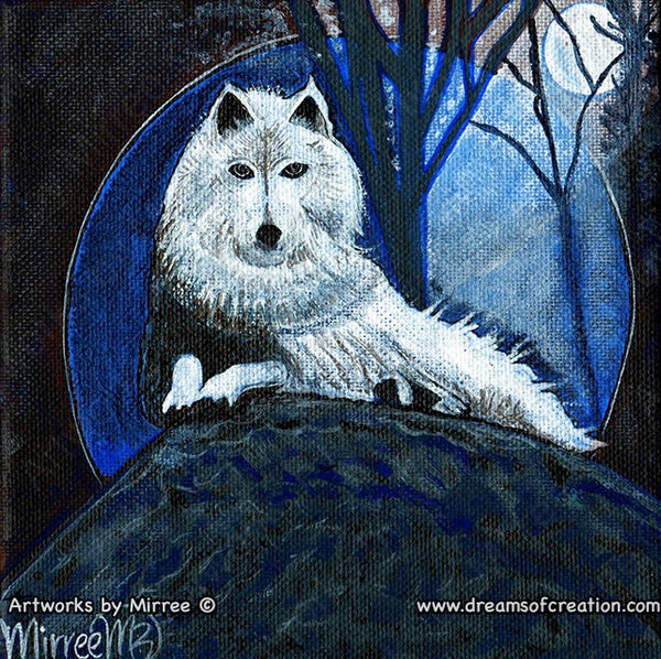 """White Wolf Dreaming"" Original Painting by Mirree Contemporary Dreamtime Animal Dreaming"