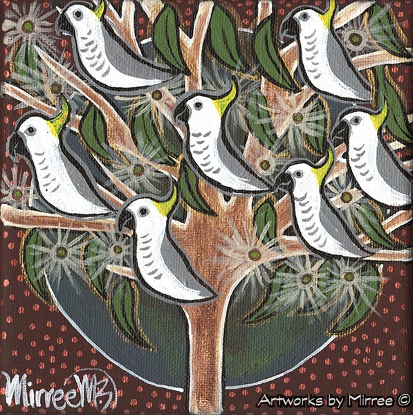'Australian Sulphur Crested White Cockatoos in Tree' Life Changing Original Painting Series by Mirree Contemporary Dreamtime Animal Dreaming