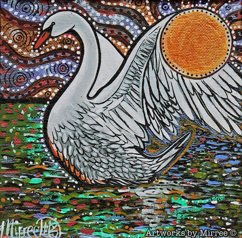 'White Swan' Original Painting by Mirree Contemporary Dreamtime Animal Dreaming