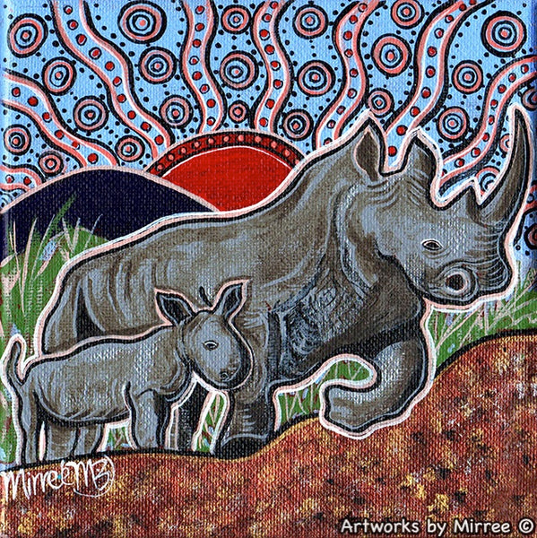 'Rhino and Baby' Original Painting by Mirree Contemporary International Dreamtime Animal Collection