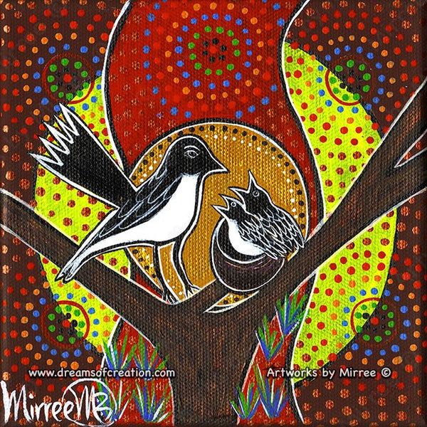 'Willie Wagtail and Baby' Original Painting by Mirree Contemporary Dreamtime Animal Dreaming