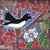 Willie WagTail Dreaming with Coolamon Small Contemporary Aboriginal Art Original Painting by Mirree