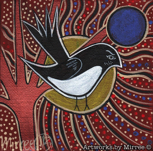 Small 'Willie Wagtail' Original Painting by Mirree Contemporary Dreamtime Animal Dreaming