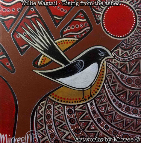 'Willie Wagtail' Original Painting by Mirree Contemporary Dreamtime Animal Dreaming