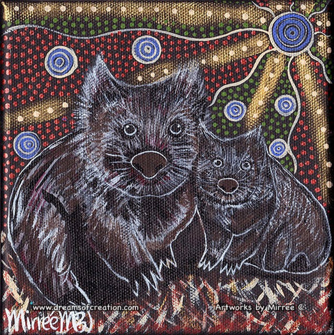 'Australian Wombat and Baby' Original Painting by Mirree Contemporary Dreamtime Animal Dreaming