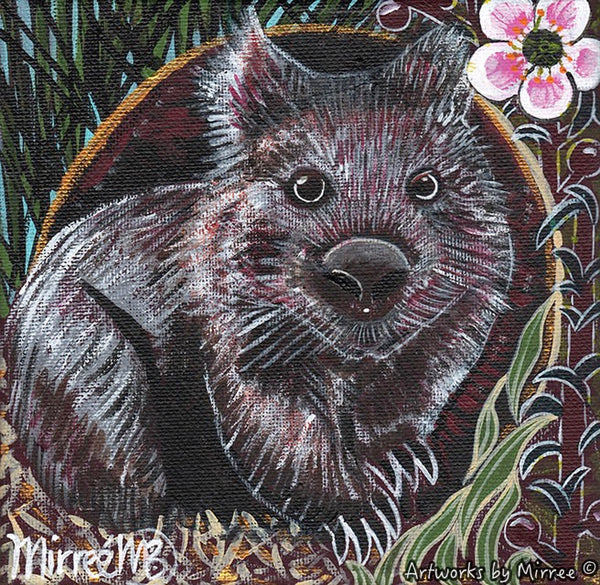 'Australian Wombat with Peach-Flowered Tea Tree' Original Painting by Mirree Contemporary Dreamtime Animal Dreaming