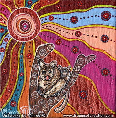 Woodland Guardians Possum and Baby Contemporary Aboriginal Art Original Painting by Mirree