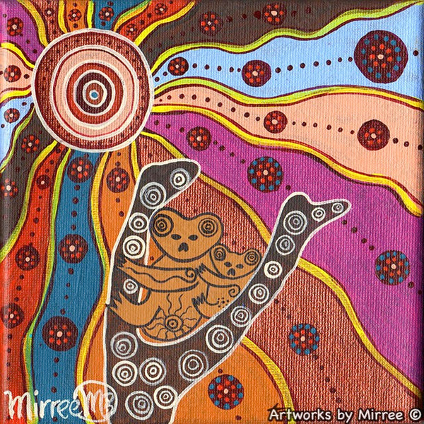 Woodland Guardians Koala and Baby Contemporary Aboriginal Art Original Painting by Mirree