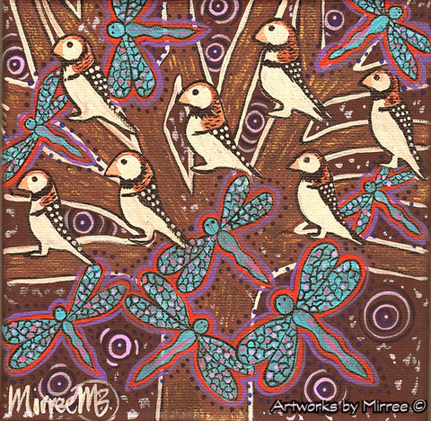 'Woodland Forest Finch with Dragonflies' Original Painting by Mirree Contemporary Dreamtime Animal Dreaming
