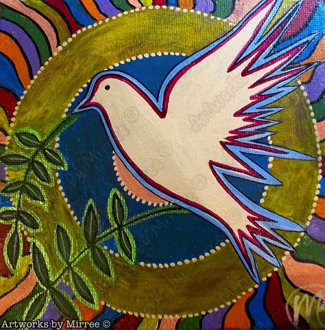 'World Peace Dove' Original Painting by Mirree Contemporary Dreamtime Animal Dreaming