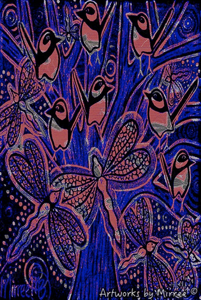 'Woodland Forest Wren by Twilight with Dragonfly' A3 Girlcee Print by Mirree Contemporary Aboriginal Art