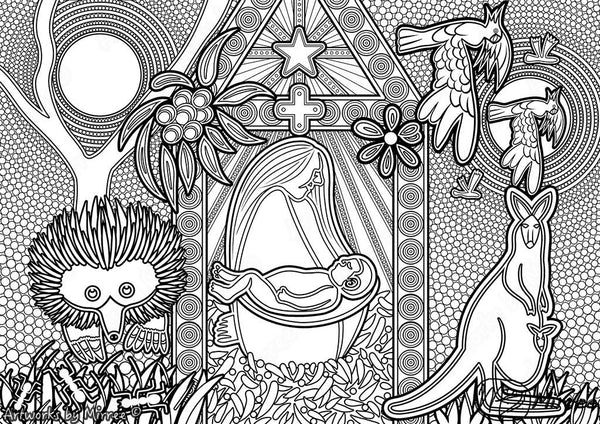 'Xmas Nativity Scene Colouring Single PDF COLOURING PAGE' by Mirree Contemporary Dreamtime Series