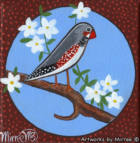 'Ancestral Zebra Finch with White Jasmine Flowers' Original Painting by Mirree Contemporary Dreamtime Animal Dreaming