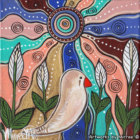 'Ancestral Zebra Finch Spirit Guide' Original Painting by Mirree Contemporary Dreamtime Animal Dreaming