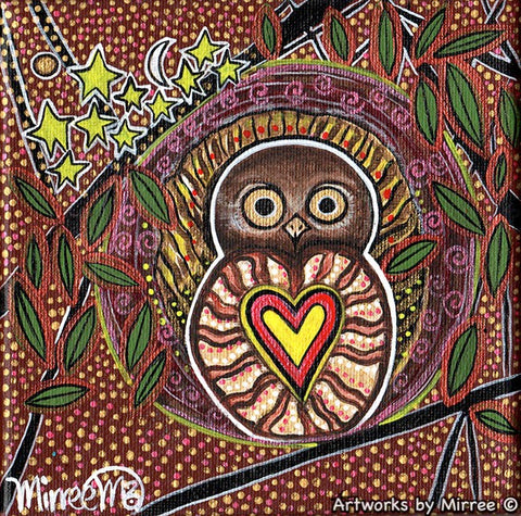 Sacred Heart of True Desires with Australian Barking Owl Dreaming Small Contemporary Aboriginal Art Original Painting by Mirree