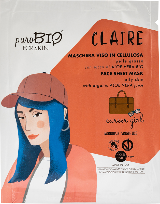 CLAIRE CAREER GIRL FACE MASK IN CELLULOSE WITH BIO ALOE VERA JUICE - FOR OILY SKIN