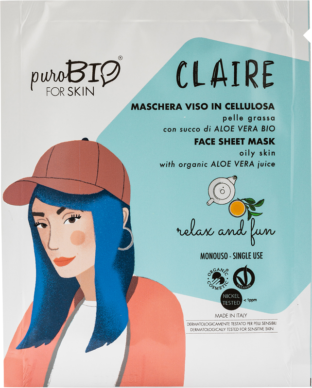 CLAIRE RELAX AND FUN FACE MASK IN CELLULOSE WITH BIO ALOE VERA JUICE - FOR OILY SKIN