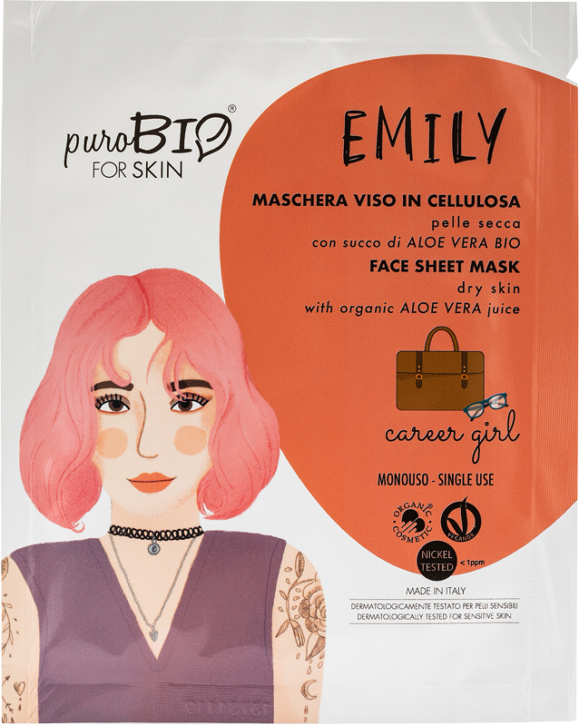 EMILY CAREER GIRL FACE MASK IN CELLULOSE WITH BIO ALOE VERA JUICE - FOR DRY SKIN