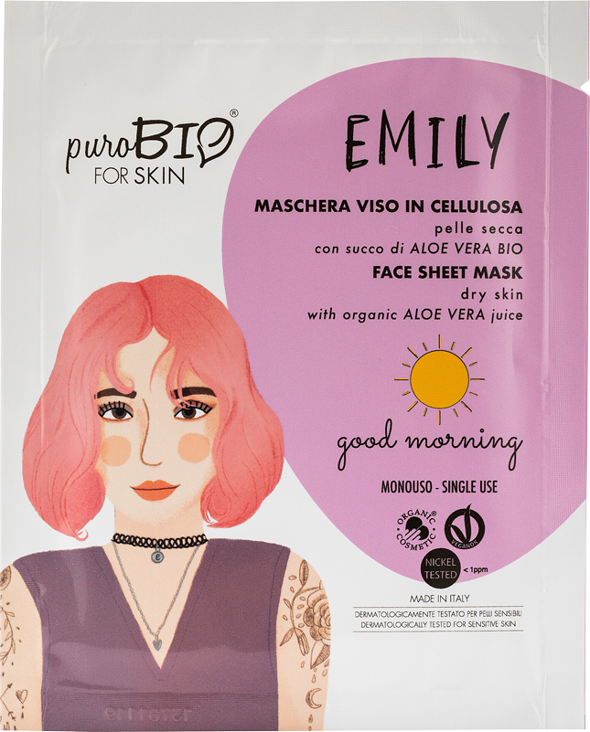 EMILY GOOD MORNING MASCHERA VISO IN CELLULOSA CON SUCCO DI ALOE VERA BIO - PER PELLE SECCA