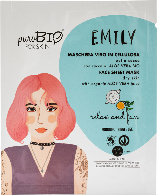 EMILY RELAX AND FUN FACE MASK IN CELLULOSE WITH BIO ALOE VERA JUICE - FOR DRY SKIN